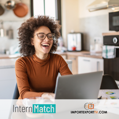 An intern smiles at her laptop above the logos for InternMatch and Import/Export TV.
