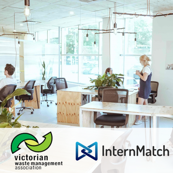 Staff working in an open-plan office with the Victorian Waste Management Association and InternMatch logos at the bottom of the picture